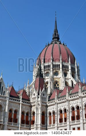 Hungarian Parliament wonderful dome in Budapest built in neogothic style at the end of 19th century