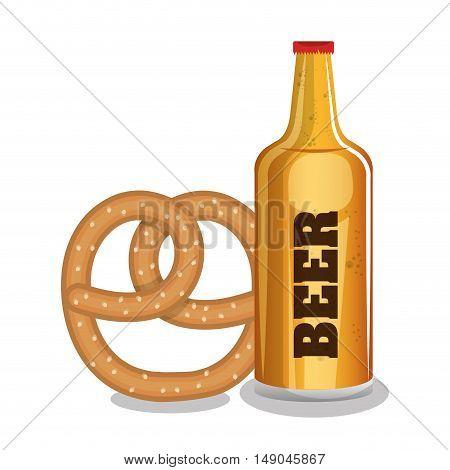 beer and pretzels food tradicional oktoberfest design vector illustration eps 10
