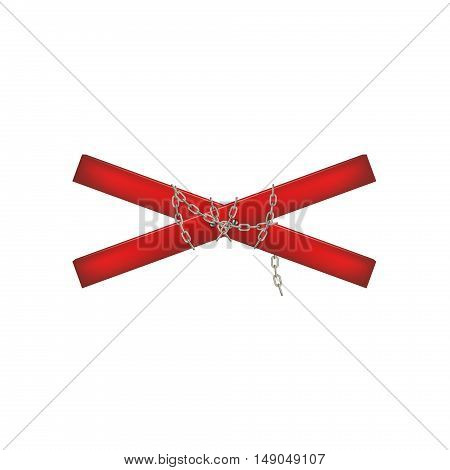 Wooden crossbar in red design connected by chain on white background