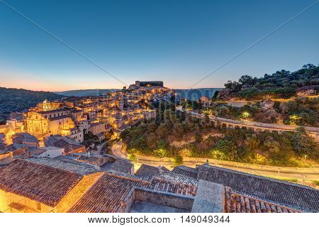 Sunrise at the old baroque town of Ragusa Ibla in Sicily, Italy