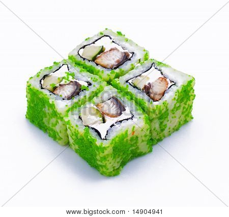 Photo of a rolled and sushi on the white background poster