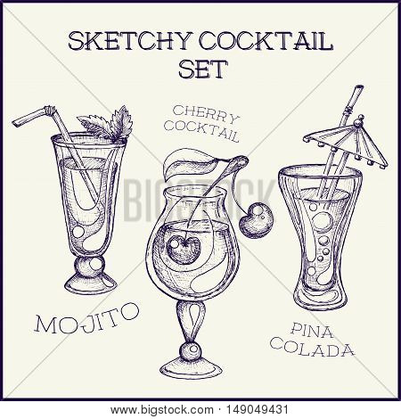 Hand drawn ink sketchy isolated on white cocktail set. Vector illustration