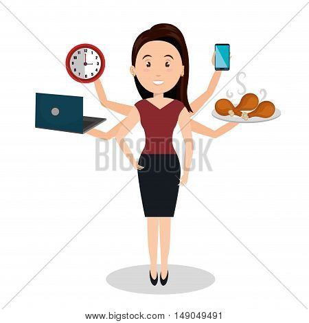 woman caroon many arms design graphic vector illustration eps 10