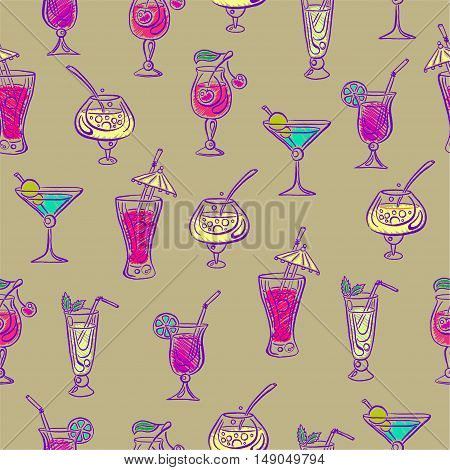 Hand drawn bright sketchy cocktail seamless pattern. Vector illustration