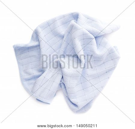 Blue crumpled rag over white isolated background poster