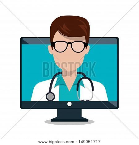 monitor doctor stethoscope consultation online isolated graphic vector illustration esp 10