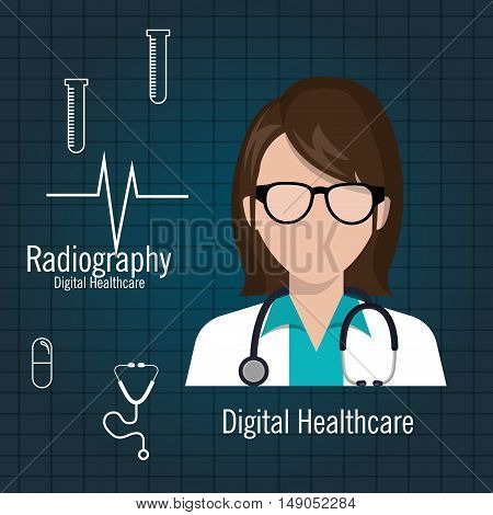doctor digital healthcare radiography graphic vector illustration eps 10
