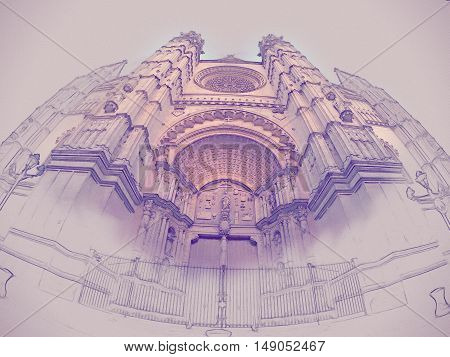 The Cathedral of Santa Maria of Palma de Mallorca, La Seu, Spain. Touristic destinations in Palma. Wide lens shot of the main facade with beautiful portal. Modern painting, background illustration.
