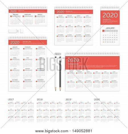 Set of 2017, 2018, 2019 and 2020 calendar template brochure geometric design. Corporate identity template set. Branding design. Business stationery mock-up.
