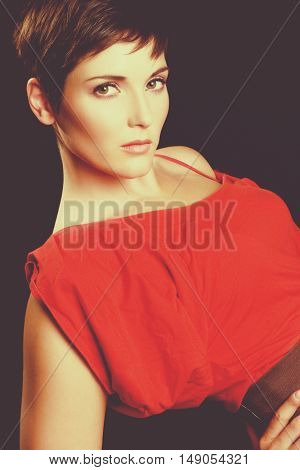 Beautiful woman wearing red dress