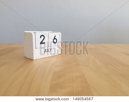 July 26Th.july 26 White Wooden Calendar On Vintage Wood Abstract Background. Summer Day.copyspace Fo