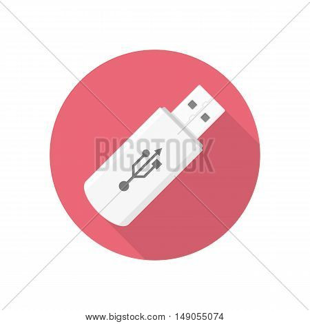 USB flash Memory Stick icon whit long shadow. Design element.