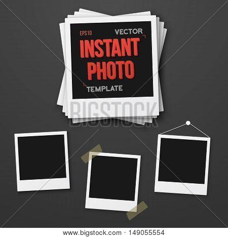 Illustration of Blank Vintage Instant Photo Frame Mockup Set. Vector Instant Photo. Photorealistic Vector EPS10 Retro Instant Photo Frame Mockup