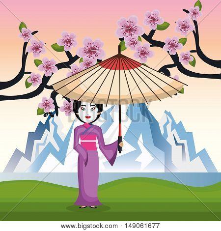 girl japanese kimono welcome japan icon vector illustration