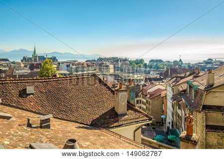 LAUSANNE,SWITZERLAND - AUGUST 26,2016 - View at the roofs of Lausanne. Lausanne is the capital and biggest city of the canton of Vaud. The city is situated on the shores of Lake Geneva.