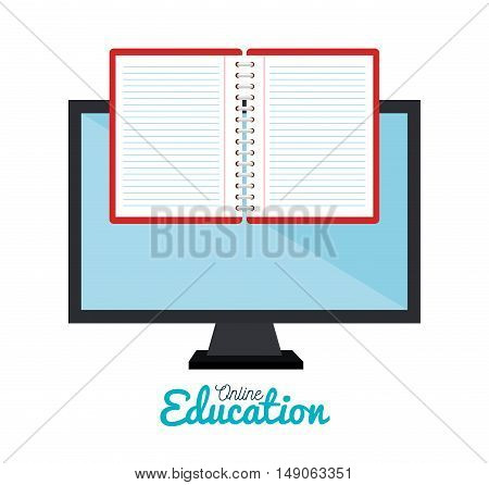 e-learning notebook monitor education online ddesign vector illustration