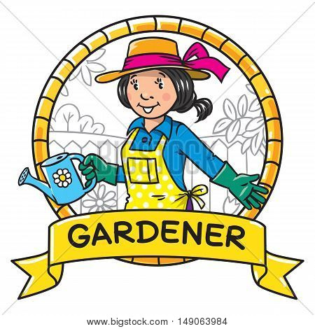 Funny Woman Gardener. Emblem. Profession Series.