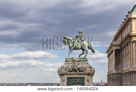 HUNGARY, BUDAPEST - APRIL 15 2016:Horse sculpture - a monument to Prince Eugene of Savoy and the former royal residence in Budapest