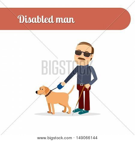Disabled person vector icon. Blind man with dog