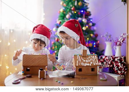 Two Sweet Boys, Brothers, Making Gingerbread Cookies House