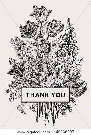 Vintage floral card. Victorian bouquet. Black and white peonies mallow delphinium roses tulips violets petunia. Thank you. Vector illustration. Monochrome.