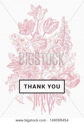 Vintage floral card. Victorian bouquet. Pink peonies mallow delphinium roses tulips violets petunia. Thank you. Vector illustration.