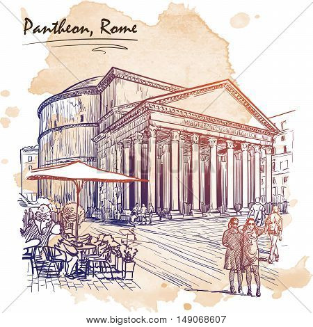 City life scene in Rome. Pantheon and groups of people wandering around. Architectural drawing with a grunge background on a separate layer. Travel sketchbook illustration. EPS10 vector illustration.