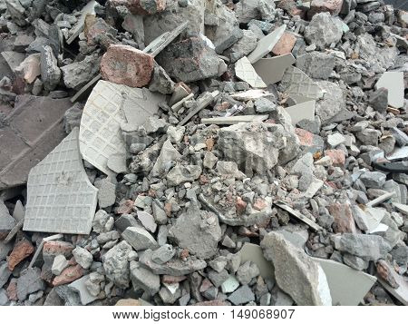 rubble or ruined building material after demolishion