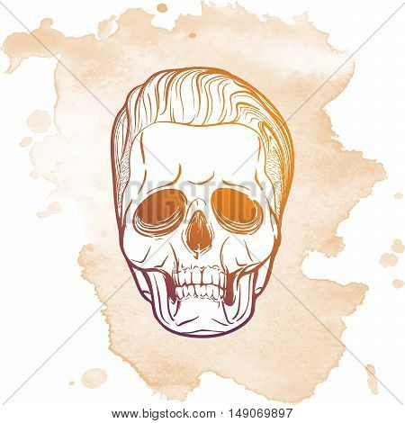 Hipster style human skull with a trendy undercut haircut and ironic grin. Hand drawn sketch on a watercolor spot. Halloween concept art. Vintage design. EPS10 vector illustration.