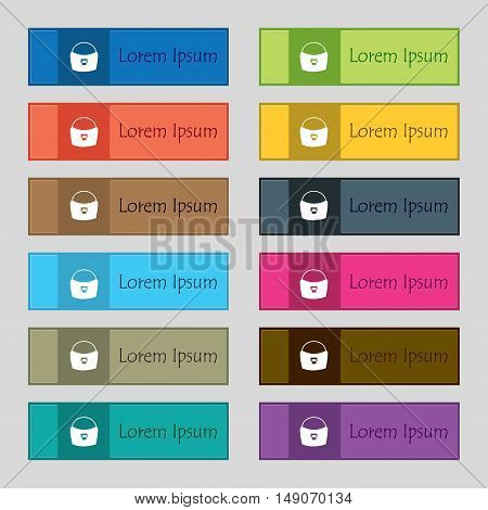 Woman Hand Bag Icon Sign. Set Of Twelve Rectangular, Colorful, Beautiful, High-quality Buttons For T