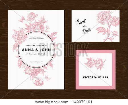 Wedding set. Menu save the date guest card. Pink flowers peonies. Vintage vector illustration.