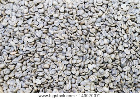 Raw coffee bean of farmers market for background