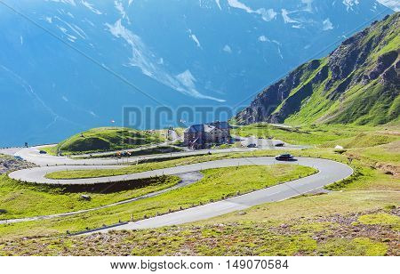 Mountain landscape with famous Grossglockner high Alpine road in Austria at summer.