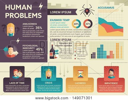 Human Problems Infographics - info poster, brochure cover template layout with flat design icons, other elements and filler text
