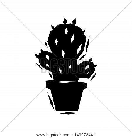 Black and white cactus logo, vector symbol