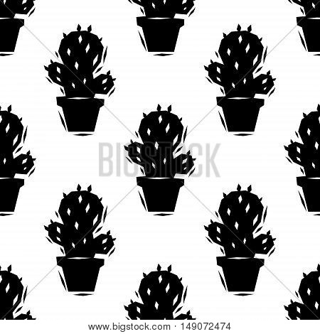 Black and white cactus seamless pattern, vector background