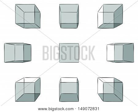 Set of ten hand drawn cubes with shadows in linear perspective with one point of vanishing isolated on white