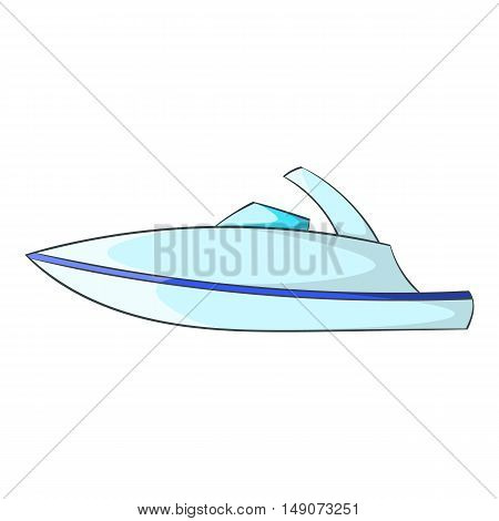 Little powerboat icon in cartoon style isolated on white background. Maritime transport symbol vector illustration