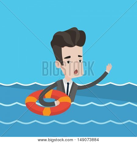 Frightened businessman sinking and asking for help. Businessman with lifebuoy ring in water. Concept of business bankruptcy and failure in business. Vector flat design illustration. Square layout.