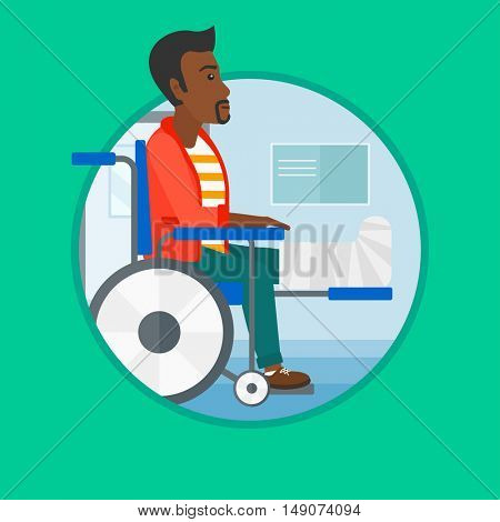 An african injured man with leg in plaster. Man with broken leg sitting in wheelchair. Man with fractured leg in the hospital. Vector flat design illustration in the circle isolated on background.