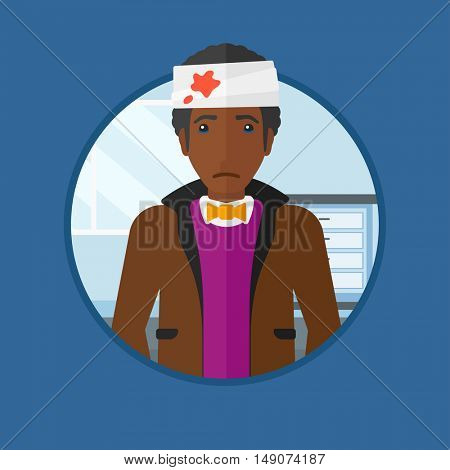 African-american man with bandages over his head. Sad man with a bandaged head in the medical office. Wounded man in the hospital. Vector flat design illustration in the circle isolated on background.