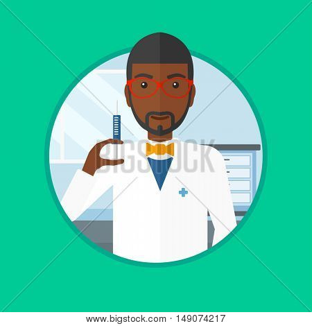 An african-american doctor holding medical injection syringe in the hospital ward. Doctor holding a syringe ready for injection. Vector flat design illustration in the circle isolated on background.