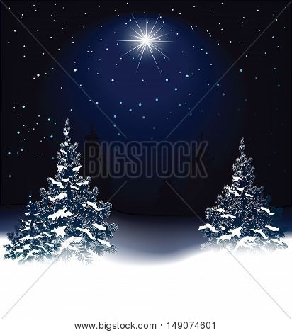 Christmas background with snow-covered trees - vector illustration