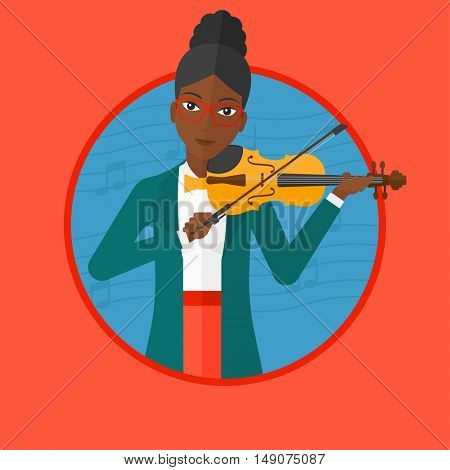 An african woman playing violin. Violinist playing music on violin. Woman with violin and bow on background with music notes. Vector flat design illustration in the circle isolated on background.