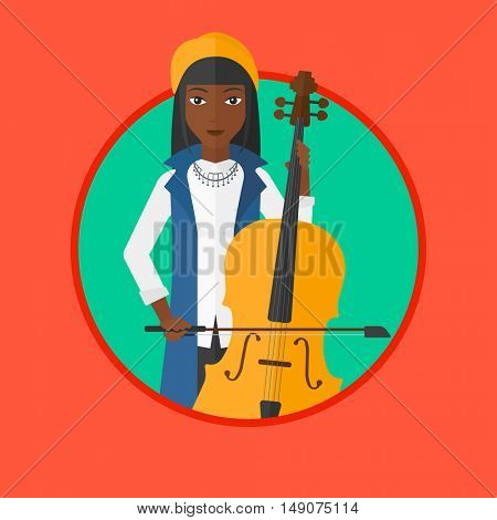An african-american young woman playing cello. Cellist playing classical music on cello. Young woman with cello and bow. Vector flat design illustration in the circle isolated on background.