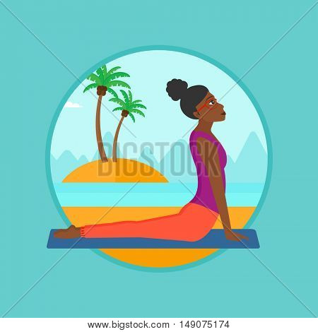 An african woman practicing yoga upward dog position. Woman meditating in yoga upward dog position on the beach. Woman doing yoga. Vector flat design illustration in the circle isolated on background.