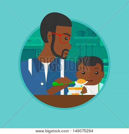An african father feeding baby girl at home. Father teaching baby girl to eat with spoon. Father spoon-feeding her baby at kitchen. Vector flat design illustration in the circle isolated on background