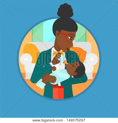 An african-american mother feeding baby boy with a milk bottle. Mother feeding newborn baby at home. Baby boy drinking milk. Vector flat design illustration in the circle isolated on background.