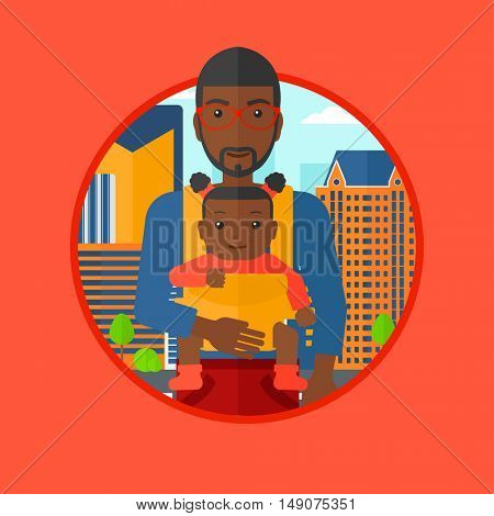 An african father carrying daughter in sling. Father with baby in sling walking in the city street. Father carrying baby in sling. Vector flat design illustration in the circle isolated on background.