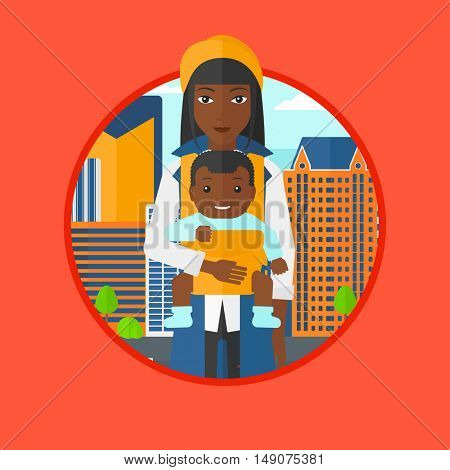 An african mother carrying son in sling. Mother with baby in sling walking in the city street. Mother carrying a baby in sling. Vector flat design illustration in the circle isolated on background.